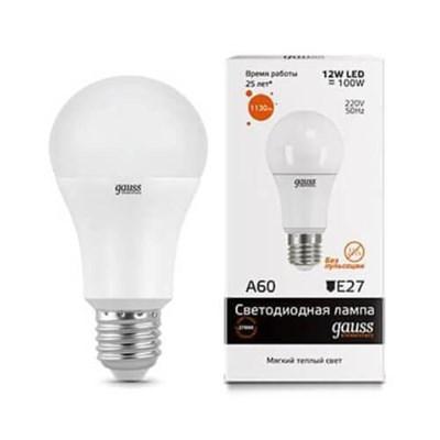 Лампа светодиодная Gauss E27 12W 3000K матовая 23212 - фото 618543