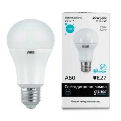 Лампа светодиодная Gauss E27 20W 4100K матовая 23229 - фото 618549