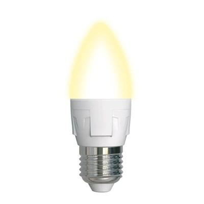 Лампа светодиодная (UL-00002414) Uniel E27 7W 3000K матовая LED-C37 7W/WW/E27/FR PLP01WH - фото 618710