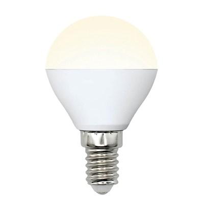 Лампа светодиодная (UL-00002375) Uniel E14 6W 3000K матовая LED-G45-6W/WW/E14/FR/MB PLM11WH - фото 618821