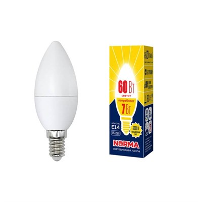 Лампа светодиодная (UL-00003796) E14 7W 3000K матовая LED-C37-7W/WW/E14/FR/NR - фото 619022