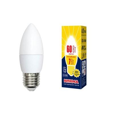 Лампа светодиодная (UL-00003799) E27 7W 3000K матовая LED-C37-7W/WW/E27/FR/NR - фото 619024