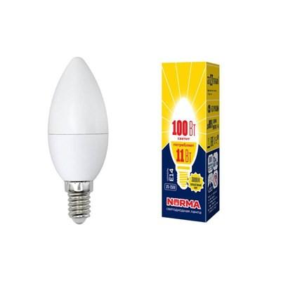 Лампа светодиодная (UL-00003812) E14 11W 3000K матовая LED-C37-11W/WW/E14/FR/NR - фото 619027