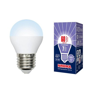 Лампа светодиодная (UL-00003821) E27 7W 6500K матовая LED-G45-7W/DW/E27/FR/NR - фото 619034