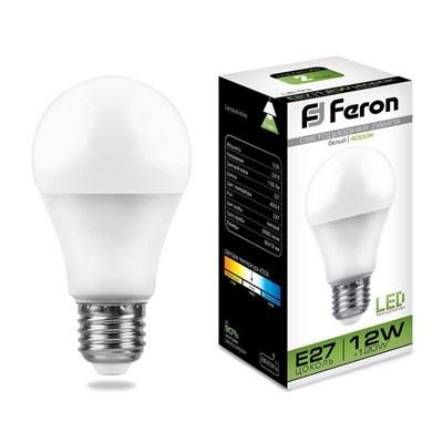 Лампа светодиодная Feron E27 12W 4000K Шар Матовая LB-93 25487 - фото 620022
