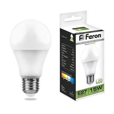 Лампа светодиодная Feron E27 15W 4000K Шар Матовая LB-94 25629 - фото 620027