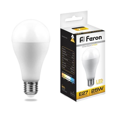 Лампа светодиодная Feron E27 25W 2700K Шар Матовая LB-100 25790 - фото 620033