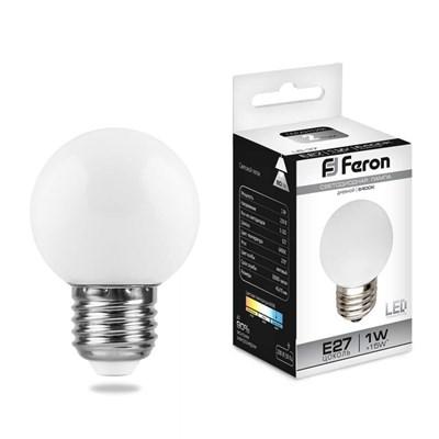 Лампа светодиодная Feron Е27 1W 6400K Шар Матовая LB-37 25115 - фото 620190