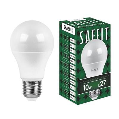 Лампа светодиодная Saffit E27 10W 4000K Шар Матовая SBA6010 55005 - фото 620213