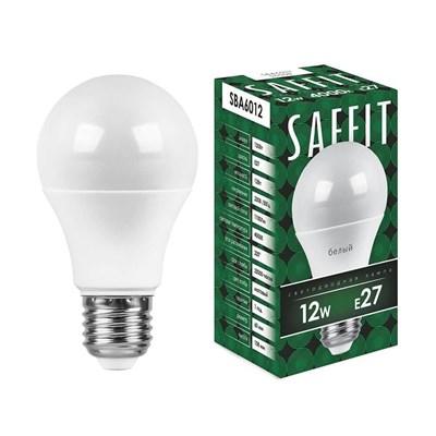Лампа светодиодная Saffit E27 12W 4000K Шар Матовая SBA6012 55008 - фото 620225