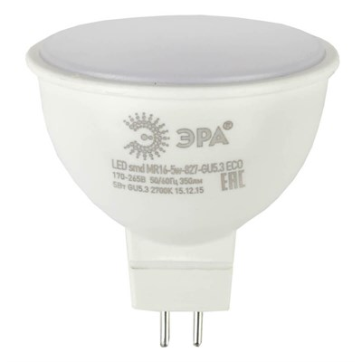 Лампа светодиодная ЭРА GU5.3 5W 2700K матовая ECO LED MR16-5W-827-GU5.3 Б0019060 - фото 620423