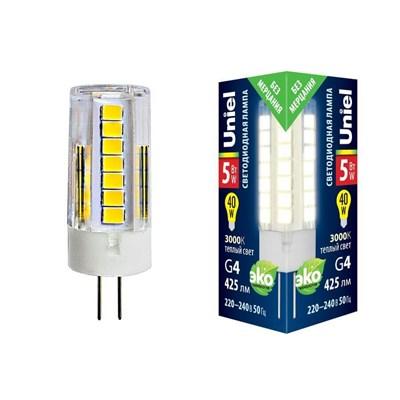 Лампа светодиодная (UL-00006744) Uniel G4 5W 3000K прозрачная LED-JC-220/5W/3000K/G4/CL GLZ09TR - фото 620535