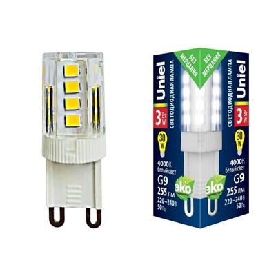 Лампа светодиодная (UL-00006747) Uniel G9 3W 4000K прозрачная LED-JCD-3W/4000K/G9/CL GLZ09TR - фото 620538