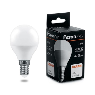 Лампа светодиодная Feron E14 6W 4000K Матовая LB-1406 38066 - фото 620817