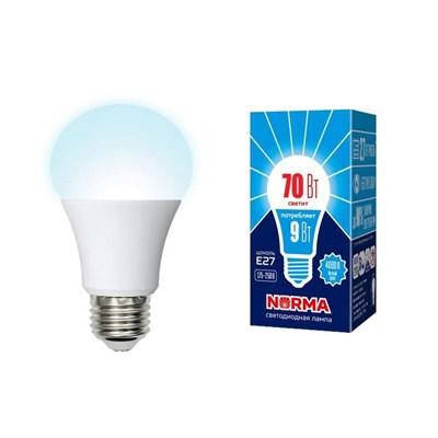 Лампа светодиодная (UL-00005623) Volpe E27 9W 4000K матовая LED-A60-9W/4000K/E27/FR/NR - фото 621559