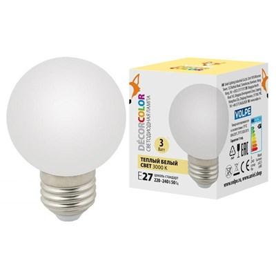 Лампа светодиодная (UL-00006955) Volpe E27 3W 3000K матовая LED-G60-3W/3000K/E27/FR/С - фото 621563