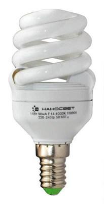 Лампа энергосберегающая Наносвет E14 11W 2700K матовая ES-SPU11/E14/827 E083 - фото 621783
