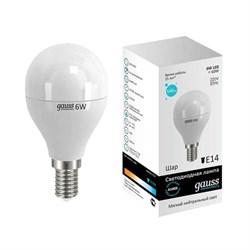 Лампа светодиодная Gauss E14 6W 4100K матовая 53126