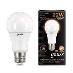Лампа светодиодная Gauss E27 22W 3000К матовая 102502122
