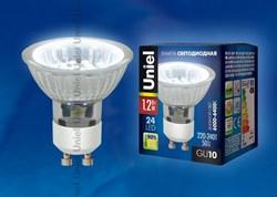 Лампа светодиодная (04008) Uniel GU10 1,2W 6000-6400K прозрачная LED-JCDR-SMD-1,2W/DW/GU10 85 Lm
