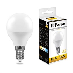 Лампа светодиодная Feron E14 9W 2700K Шар Матовая LB-550 25801
