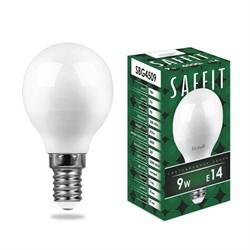 Лампа светодиодная Saffit E14 9W 4000K Шар Матовая SBG4509 55081
