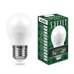 Лампа светодиодная Saffit E27 7W 6400K Шар Матовая SBG4507 55124