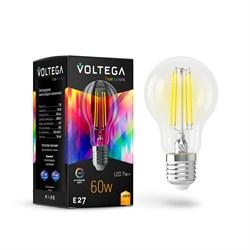 Лампа светодиодная Voltega E27 7W 2800K прозрачная VG10-A60E27warm7W-FHR 7154