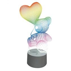 Фигурка светодиодная «Мишка с сердцем» 25x13см Uniel ULI-M503 RGB/3AAA Lovebear/White UL-00007420