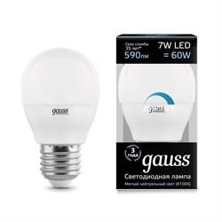 Лампа светодиодная диммируемая Gauss E27 7W 4100K матовая 105102207-D