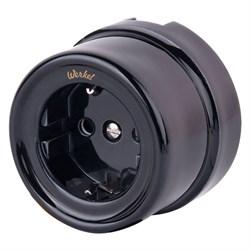 Розетка Werkel с заземлением Retro черная WL18-03-01 4690389100796