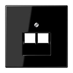 Накладка 2-ой наклонной телефонной/компьютерной розетки Jung LS 990 черная LS969-2UASW