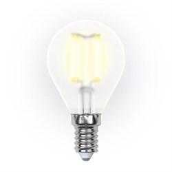 Лампа светодиодная филаментная Uniel E14 6W 3000K прозрачная LED-G45-6W/WW/E14/FR PLS02WH UL-00000303