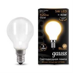 Лампа светодиодная филаментная Gauss E14 5W 2700К матовая 105201105