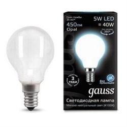 Лампа светодиодная филаментная Gauss E14 5W 4100К матовая 105201205