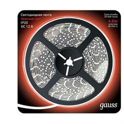Светодиодная лента Gauss 4,8W/m 60LED/m 2835SMD красный 5M 312000705