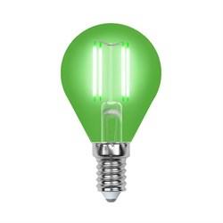 Лампа светодиодная филаментная Uniel E14 5W зеленая LED-G45-5W/GREEN/E14 GLA02GR UL-00002987