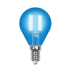 Лампа светодиодная филаментная Uniel E14 5W синяя LED-G45-5W/BLUE/E14 GLA02BL UL-00002989