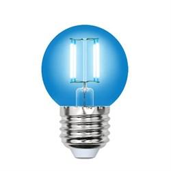 Лампа светодиодная филаментная Uniel E27 5W синяя LED-G45-5W/BLUE/E27 GLA02BL UL-00002990