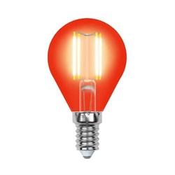Лампа светодиодная филаментная Uniel E14 5W красная LED-G45-5W/RED/E14 GLA02RD UL-00002985