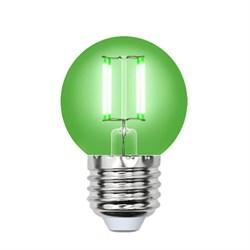 Лампа светодиодная филаментная Uniel E27 5W зеленая LED-G45-5W/GREEN/E27 GLA02GR UL-00002988