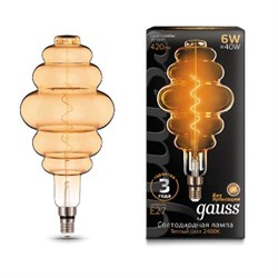 Лампа светодиодная филаментная Gauss E27 6W 2400K золотая 158802006