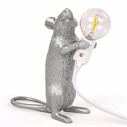 Seletti Big Mouse Lamp #1 Silver H25 Настольная Лампа Мышь