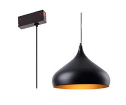 Люстра подвесная Е27 на трек магнитной трековой системы С39  дизайн TomDixon Black/Gold D325mm